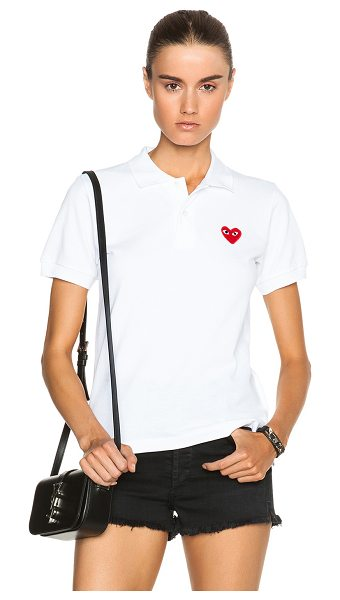 Comme Des Garcons PLAY Cotton Polo with Red Emblem in white - 100% cotton.  Made in Japan.  Half-button front closure.