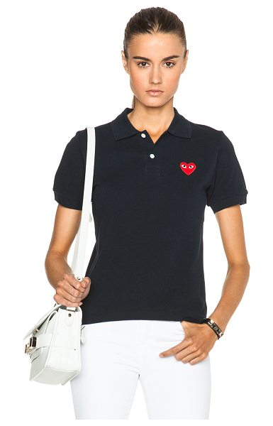 COMME DES GARCONS PLAY Cotton Polo with Red Emblem - 100% cotton.  Made in Japan.  Half-button front closure.