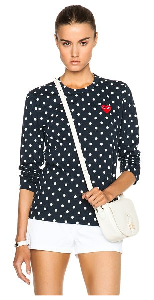 Comme Des Garcons PLAY cotton red emblem dot tee in navy