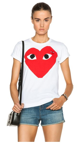 Comme Des Garcons PLAY Cotton Red Heart Emblem Tee in white - 100% cotton.  Made in Japan.