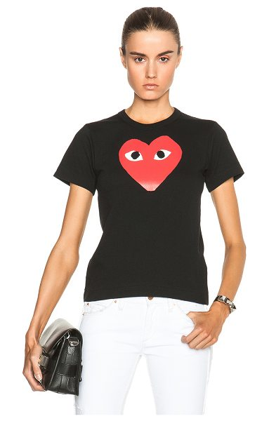 COMME DES GARCONS PLAY Cotton Tee with Red Emblem in black - 100% cotton.  Made in Japan.