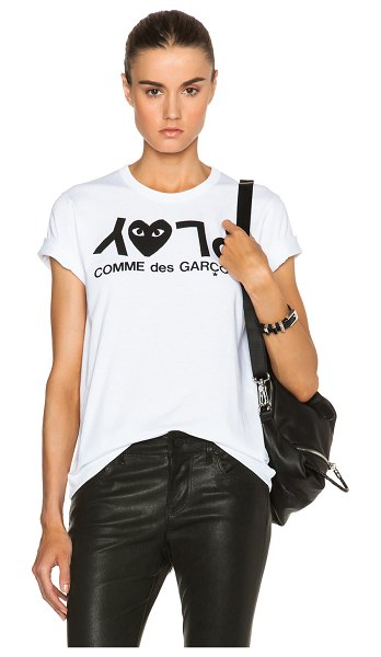 Comme Des Garcons PLAY Jersey Black Print Tee in white - 100% cotton.  Made in Japan.