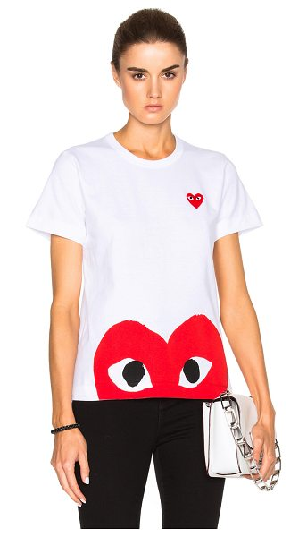 Comme Des Garcons PLAY Red Emblem Heart Tee in white - 100% cotton.  Made in Japan.  Hand wash.