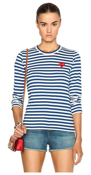 Comme Des Garcons PLAY striped cotton red heart tee in royal blue