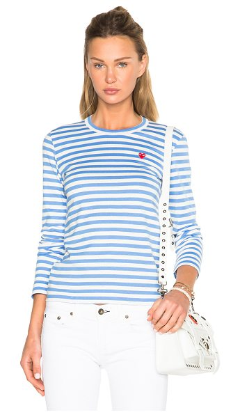 Comme Des Garcons PLAY Striped Small Emblem Tee in blue,stripes - 100% cotton.  Made in Japan.