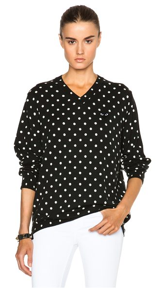 COMME DES GARCONS PLAY Wool Jersey Dot Print Black Emblem Sweater in black,polka dots - 100% wool.  Made in Japan.