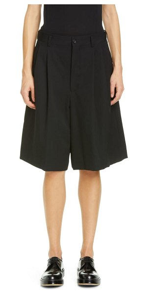Comme Des Garcons pleated long wool shorts in black