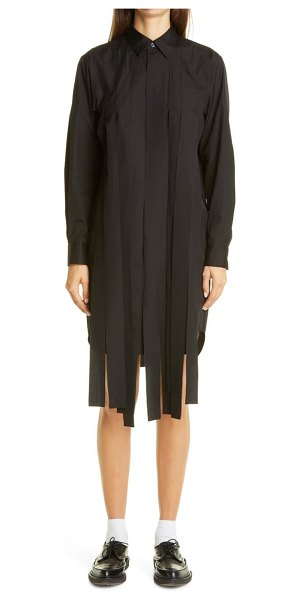 Comme Des Garcons streamer long sleeve cotton shirtdress in black