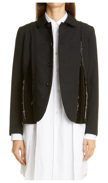 Comme Des Garcons velvet godet tropical wool jacket in black x black