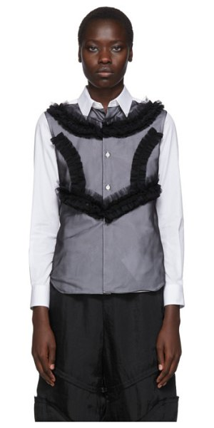 Comme Des Garcons white and black poplin and georgette ruffle detail shirt in 1 white,blk