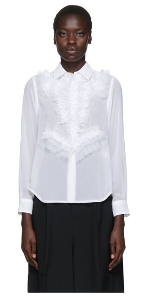 Comme Des Garcons white georgette ruffle detail shirt in 2 white