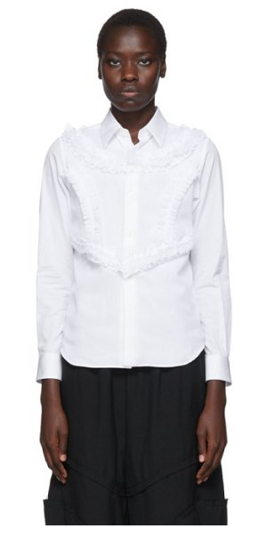 Comme Des Garcons white poplin and georgette ruffle detail shirt in 2 white,wht