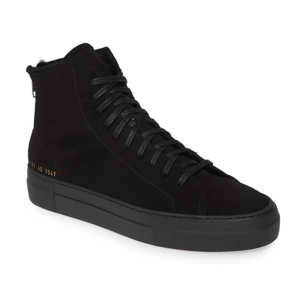 Common Projects tournament genuine shearling sneaker in black