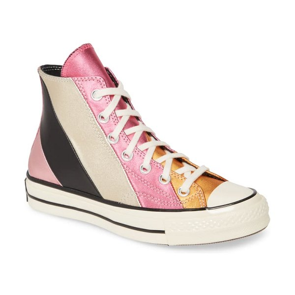 Converse chuck taylor all star chuck 70 metallic rainbow high top sneaker in pink multi