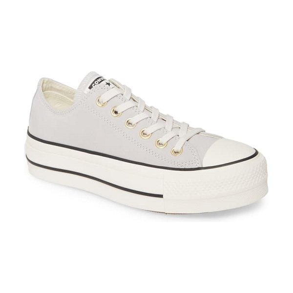 Converse chuck taylor all star lift nubuck leather sneaker in grey