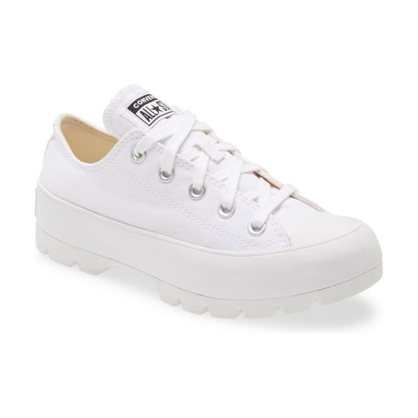 Converse chuck taylor all star lugged low top sneaker in white/ white/ white