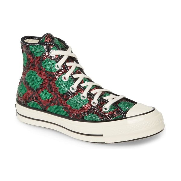 Converse chuck taylor all star sequin high top sneaker in red