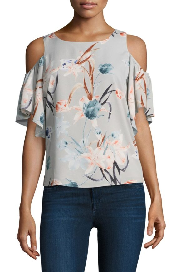COOPER & ELLA adeline floral cold-shoulder top - EXCLUSIVELY AT SAKS FIFTH AVENUE. Shoulder-baring top in...