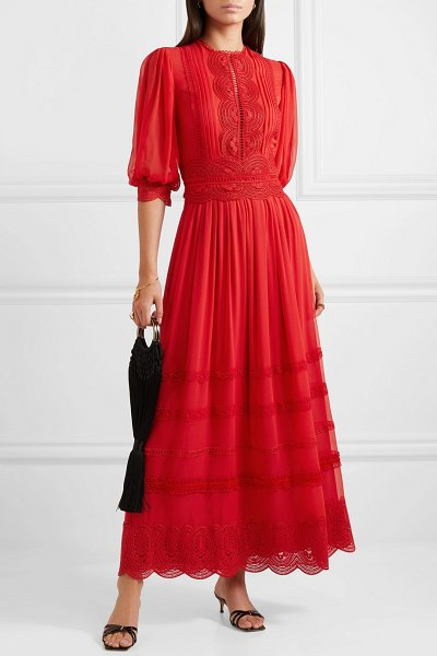 Costarellos crocheted lace-trimmed silk crepe de chine maxi dress in red - Christos Costarellos is inspired by strolling through...