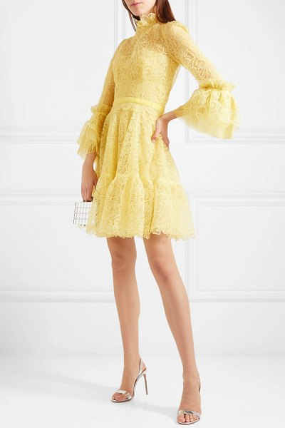 Costarellos velvet-trimmed ruffled corded lace mini dress in yellow