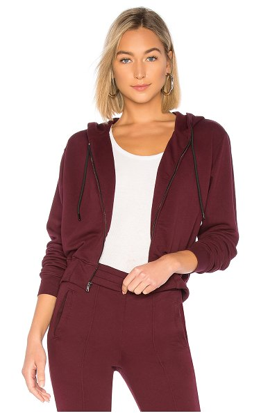 Cotton Citizen Milan Zip Hoodie in wine - 100% cotton. Front zipper closure. Drawstring hood....