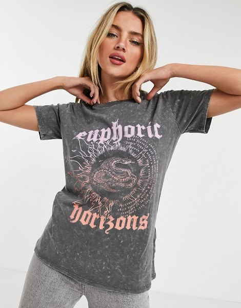 Cotton:On cotton: on oversized graphic tee in washed gray-grey in grey