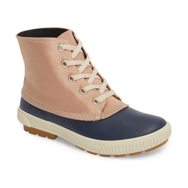 COUGAR dart waterproof duck boot in navy/ tan