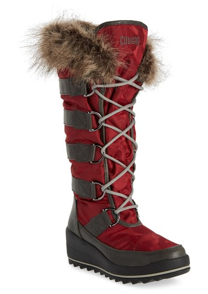 COUGAR lancaster waterproof snow boot in merlot fabric - Polar Plush lining and a faux-fur cuff add to the cozy...