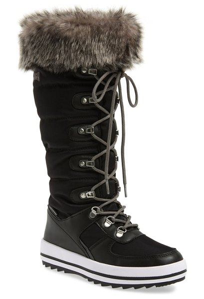 COUGAR vesta faux fur collar knee high snow boot in black fabric - Polar Plush lining and a faux-fur cuff add to the cozy...