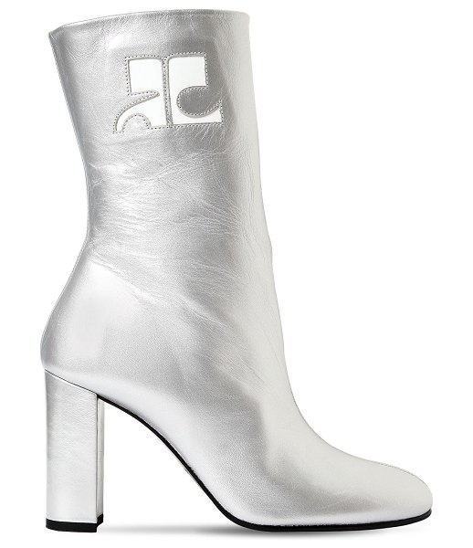Courreges 100mm metallic leather ankle boots in silver