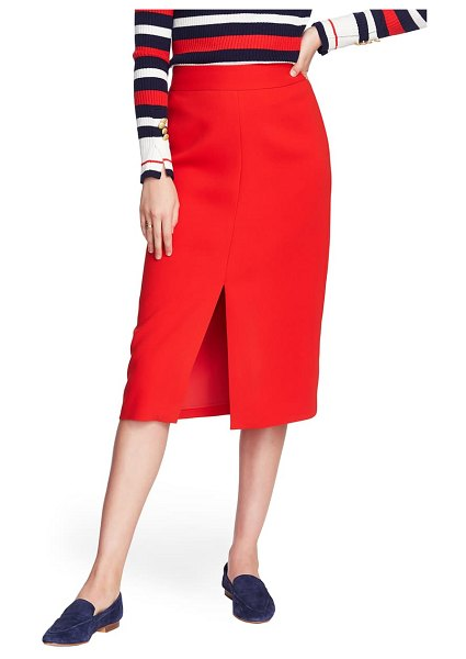 Court & Rowe front slit crepe pencil skirt in preppy red