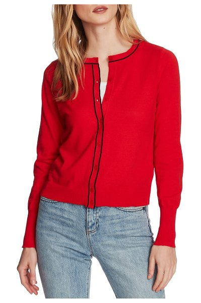 Court & Rowe light luxe tipped cotton & silk cardigan in bright rouge