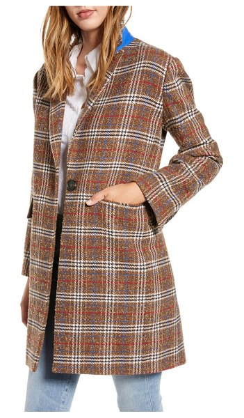Court & Rowe plaid boucle topper coat in true camel