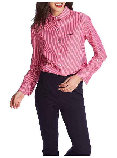 Court & Rowe preppy embroidered stripe shirt in pink obsession