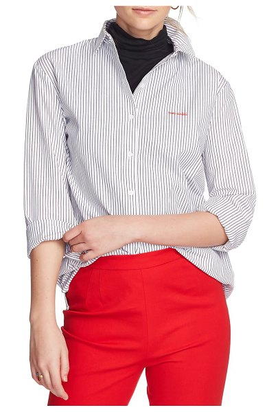 Court & Rowe preppy embroidered stripe shirt in ultra white