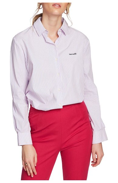 Court & Rowe preppy embroidered stripe shirt in chambray pink