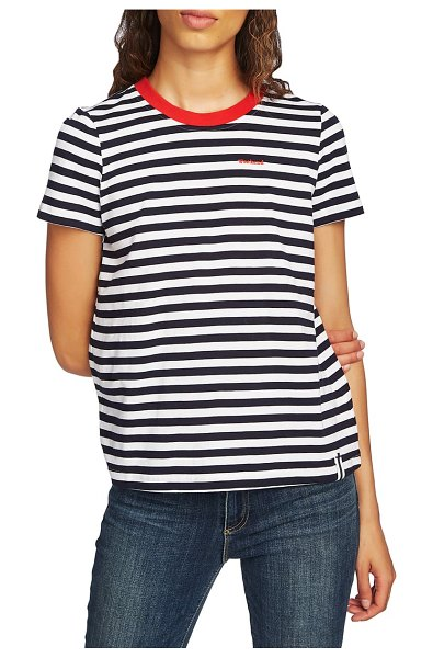 Court & Rowe preppy stripe tee in rich black