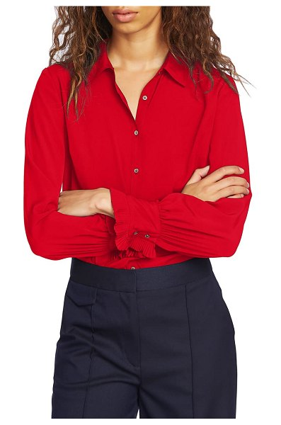 Court & Rowe ruffle cuff blouse in preppy red
