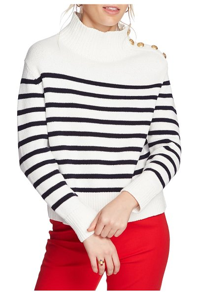 Court & Rowe stripe mock neck sweater in antique white