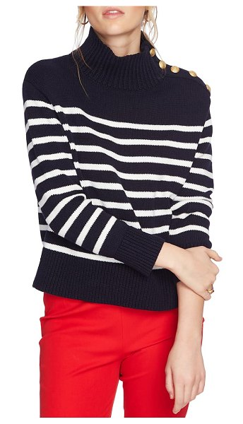 Court & Rowe stripe mock neck sweater in navy crush