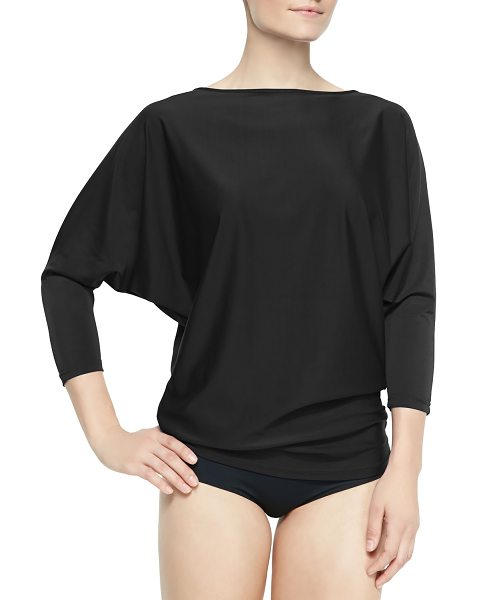 Cover UPF 50 Dolman-Sleeve Boat-Neck Tunic in black - Every item in the Dallas-based collection is made of...
