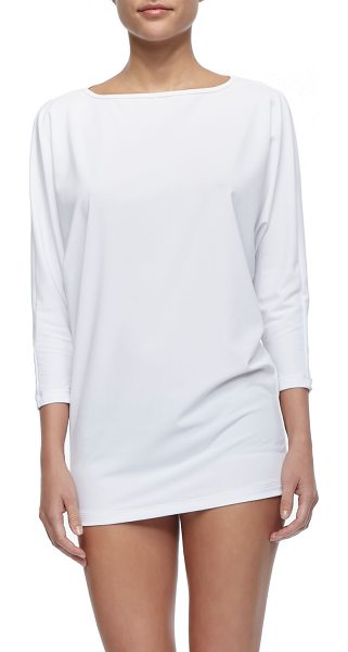 COVER UPF 50 Dolman-Sleeve Boat-Neck Tunic in white - Every item in the Dallas-based collection is made of...