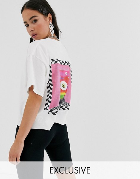 Crooked Tongues crop t-shirt with back print-white in white