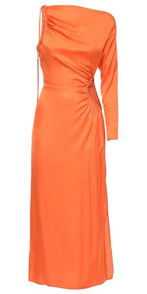 Cult Gaia Cyn one-shoulder midi dress w/ cutout in orange