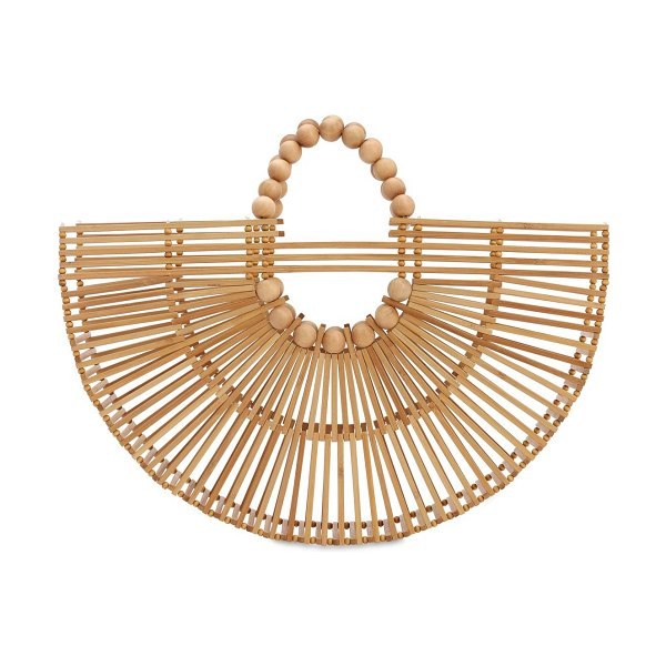 Cult Gaia Fan ark bamboo top handle bag in natural