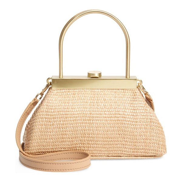 Cult Gaia mini estelle raffia top handle bag in natural tan