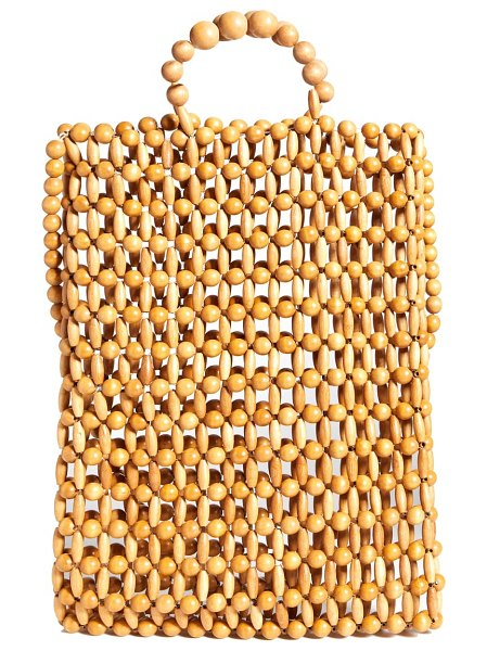 Cult Gaia riya tote in natural - Fashioned in a macrame-inspired lattice of mixed bamboo...