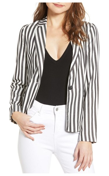 cupcakes and cashmere stripe blazer in black - Be the boss in this tailored blazer styled with bold...