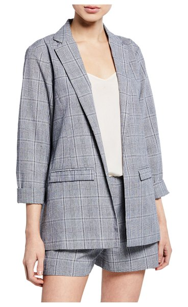 cupcakes and cashmere Wheeler Plaid Blazer in gray pattern