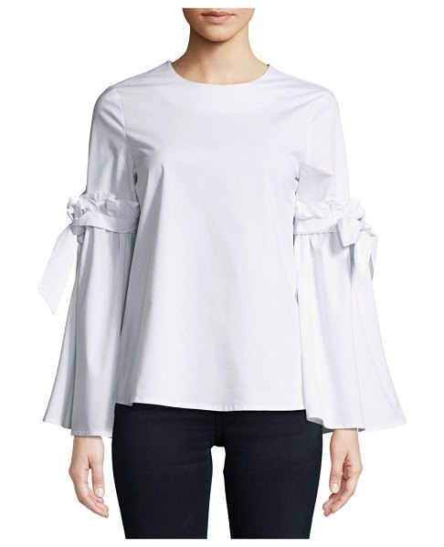 Cupio Ruffled Tie Top in white - Frilled and self-tie details enhance this cotton-blend...